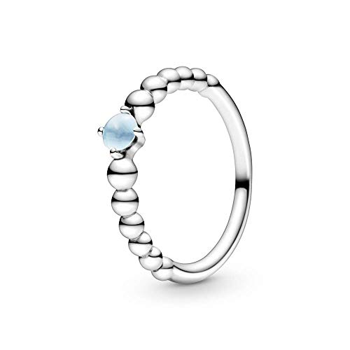PANDORA December Sky Blue Beaded 925 Sterling Silver Ring, Size: EUR-54, US-7-198867C07-54
