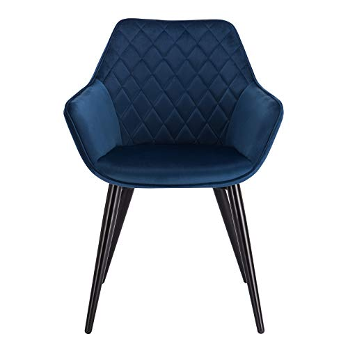 eSituro Blue Dining Chair Velvet Classic Bed Chair with Arm Large Back Support Comfy Armchair Tub Chair with Black Metal Legs Dressing Chair Corner