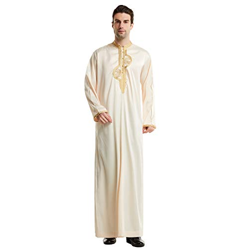 Muslim Men Jubba Thobe Islamic Clothing - Stand Collar Kimono Long Robe Saudi Musulman Wear Abaya Caftan Jubah Dubai Arab Dressing (Color : Beige, Size : L)