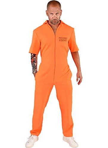 narrenkiste M219257-XL-XXL orange Herren Prisoner-Gauner Kostüm Overall Gr.XL-XXL=60-62