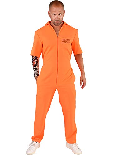 narrenkiste M219257-XL-XXL orange Herren Prisoner-Gauner Kostüm Overall Gr.XL-XXL=60-62