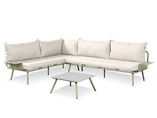 LANTERFANT Juego de salón Beau, grupo de asientos, sofá esquinero, marco de aluminio, recubrimiento de polvo, mesas auxiliares con reposabrazos, mesa de café, disponible en dos colores, verde.