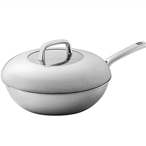 SZPZC Kitchen Cookware Saucepan Frying Pan Three-layer 304 Stainless Steel Skillet Pan 30CM Caliber Saute Pan With Cover Anti-Warp Base Classic Nonstick