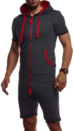 Leif Nelson korte jumpsuit voor heren, korte mouw, overall onesie, mannen T-shirt, capuchon, zomerjumpsuit, pyjama korte joggingpak, trainingspak LN8313