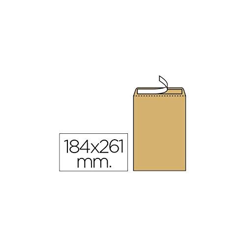 Liderpapel Sobre Bolsa N.6 Kraft Cuarto Prolongado 184X261Mm Tira De Silicona Caja De 250 Unidades