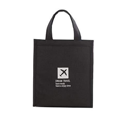 Tragbare Picknick-Tasche mit wasserdichtem kationischem Stoff und Klettverschluss-Design und integrierten Taschen, Kühltasche, Outdoor, tragbare Kühltasche (schwarz, 20 x 23 x 14 cm)