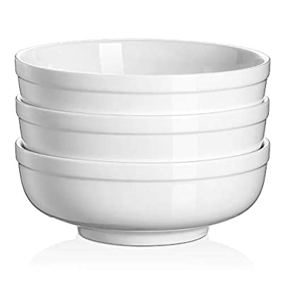 DOWAN Soup Bowls, Salad Bowl, 32 Ounces White Cereal Bowls with Double Walled Construction, Individual Porcelain Bowls Set for Soup Salad Ramen Pho Pasta Noodle, Sturdy and Easy to Hold, Set of 3