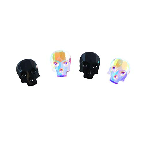 Swarovski 2856 Skull Flatback 10x7.5mm w/ 2 colors-Crystal AB and Jet (Pack of 4)
