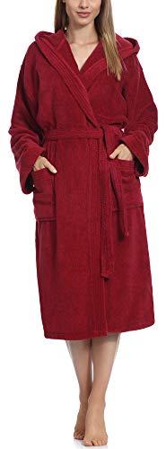 Ladeheid Peignoir de Bain Éponge 100% Coton Femme LA40-193 (Bordeaux-27 (Grammage 400), M)