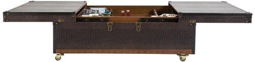 Kare Design Couchtisch Bar Colonial, 75167, großer, rustikaler Funktions-Truhentisch mit Rollen im Kolonialstil, ausziehbar, dunkelbraun (H/B/T) 37x120x75cm