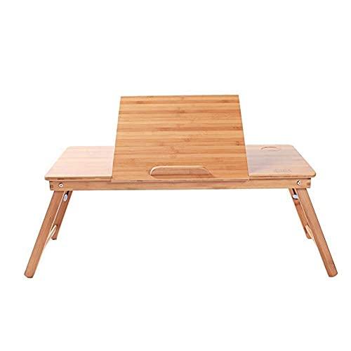 HCYY Mesa plegable para ordenador portátil, mesa plegable de madera maciza, mesa plegable para cama, simple y moderno (color: color madera, tamaño: 80 x 40 x 38 cm)