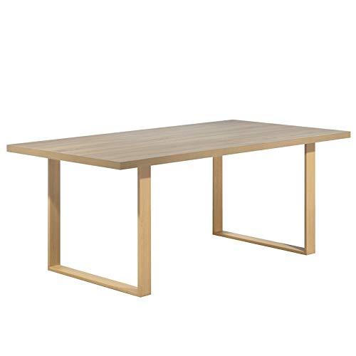 i-flair Esszimmertisch Macon 200x100 cm Kufentisch Holztisch Esstisch Kufengestell Tisch mit Tischplatte und Kufen - alle Größen und Farben (Eiche + Eiche)