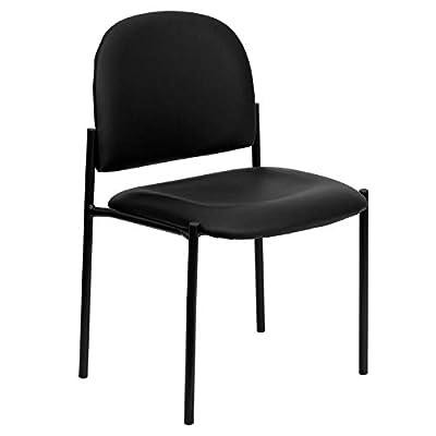 Flash Furniture Comfort Black Vinyl Stackable Steel Side Reception Chair