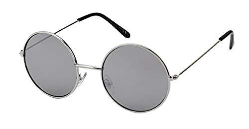 Chic-Net Gafas de sol redondas gafas a lo John Lennon Estilo 400 UV metálica plateada embarcadero largo