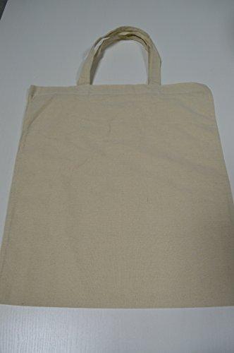 100 Stück Baumwolltragetasche natur ca. 35x42 cm kurze Henkel Einkaufstasche Einkaufstaschen Baumwolltragetaschen Beutel Einkausbeutel 100% Baumwolle