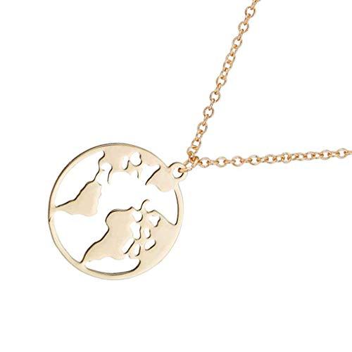 teng hong hui Las Mujeres Hollow Mapa del Mundo patrón del Collar de señora Girl Pulido Collar de Cobre de Cuello Redondo Colgante Chapado de Cobre joyería