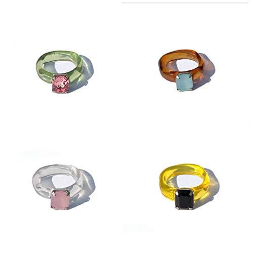 Anillo de resina de 4 piezas, anillo de joyería de resina vintage retro para mujer, anillo de diamante de resina retro de nicho, dedo de diamante elegante mejor regalo hecho a mano (segundo)