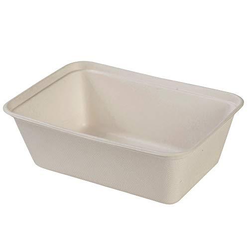 BIOZOYG Vaschette di Canna da Zucchero Piatti Bagassa Monouso Stoviglie Biodegradabili I Lunch Box Monouso Contenitori Alimentari Compostabili 650 ml I 125 Vaschette rettangolari 12x17 cm Bianco