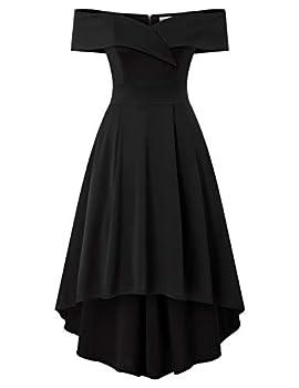 Skater Dress for Women Short Sleeve Off Shoulder Formal Homecoming Vintage A Line Dresses with Pockets Black L