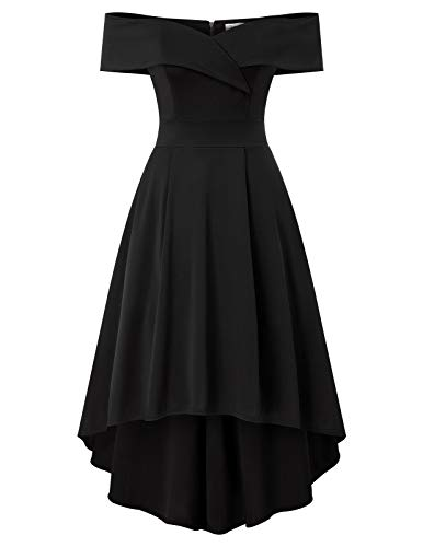JASAMBAC Fit and Flare Cocktail Dresses for Women Elegant Off Shoulder Wedding Guest Party Dress with Pockets Black M