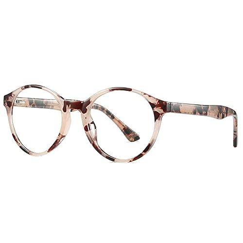 RuaRua Gafas Luz Azul,Anti-Blue Light Vintage, Marco De Anteojos Óptico Redondo con Bisagra De Resorte para Mujer, Leopardo, Talla Única