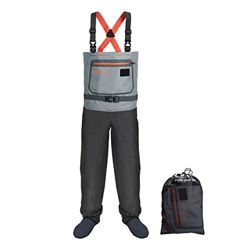 wonitago Chest Waders - High Waist Wading Pants, 3-Ply Breathable Fishing Waders with Durable Stocking for All Watersports and Works, Gray XXL
