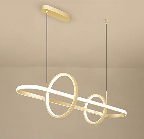 LONSTAII Led 56W Lámpara Colgante Mesa de Comedor Regulable Suspensión Luces Colgantes Moderno Anillo Diseño Luces Colgantes para Comedor Estar Estudio Lámpara 90cm con Control Remoto