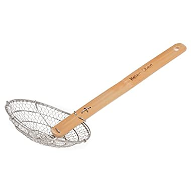 Helen Chen's Asian Kitchen Stainless Steel Spider Strainer with Natural Bamboo Handle, 7-Inch Strainer Basket