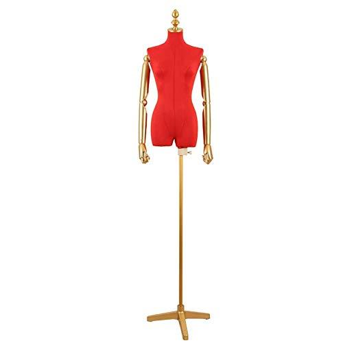 HXCD Torso de Cuerpo de maniquí de Forma Femenina de Altura Ajustable con Brazo de plástico y Base de Metal para Vestidos de Novia/Trajes (Color: Rojo)