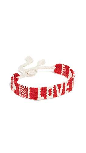 Maison Irem Women's Mantra Woven Bracelet, Red, One Size