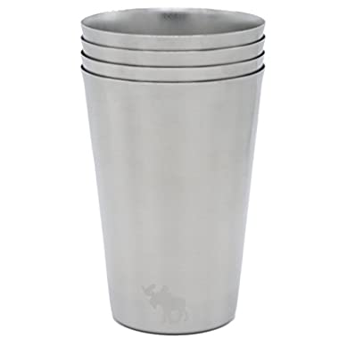 16 oz Stainless Steel Cups for Camping, Home, Travel, Toxic-Free, Unbreakable, Heavy Duty, Premium Extra Thick 18/8 Steel, 4-Pack