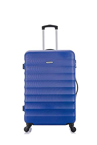 Flymax 29' Large Suitcases on 4 Wheels Lightweight Hard Shell Luggage Durable Check in Hold Luggage Built-in 3 Digit Combination Navy