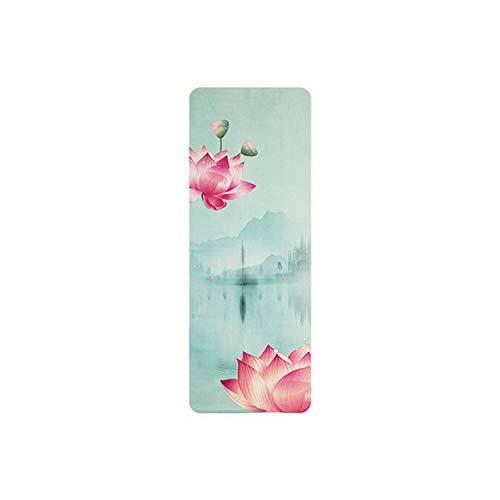 Big Incisors Cómoda Esterilla de Yoga |Lotus Suede Yoga Mat 183 * 68Cm * 1Mm Urltra Light Portátil Antideslizante Public Yoga Mat Cover Soft Mat Outdoor Pilates Pad Exercise Pad-White-