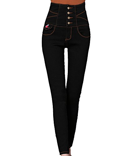Kasen Mujer Pantalones Push Up Jeans Vaqueros Elásticos Negro M