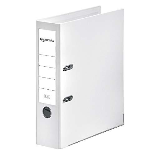 AmazonBasics – Aktenordner, Polypropylen-Kaschierung, Einschubfach am Rücken, FSC-zertifiziert, Rücken 80mm breit, 10Stück, Weiß