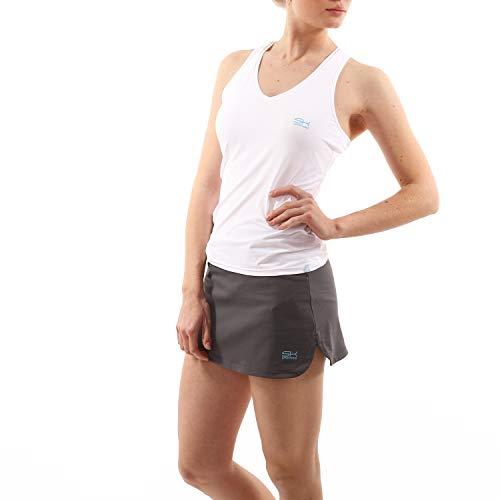 Sportkind Mädchen & Damen Tennis, Fitness, Sport V-Neck Tank Top Racerback, atmungsaktiv, UV-Schutz UPF 50+, Weiss, Gr. 164