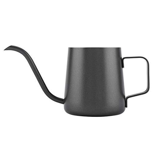 Taza de café, generosa, estable, fácil de sostener, elegante, tetera para verter sobre café, tetera de café de acero inoxidable, para cocina casera(Teflon black)