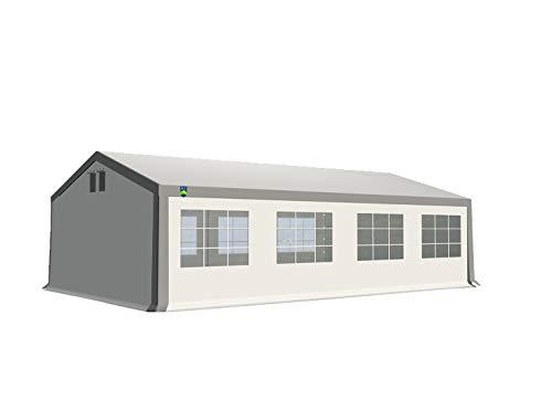 KC Partyzelt 5x8 m Pavillon Zelt 500g/m² - PVC Plane - Gartenzelt Festzelt Bierzelt - Rahmen aus Stahl - Inkl. Seitenwände & Giebelwände - Grau