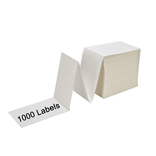 SJPACK 4 x 6 Fanfold Labels, 1000 Thermal Shipping Labels for UPS,FedEx Shipping Label (1 Stack- 1000 Labels)