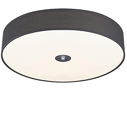Chasebright Lámpara de techo LED moderna de tela con luz LED redonda regulable 4000K blanco neutro 3 niveles de brillo para dormitorio, sala de estar metros cuadrados. Colores grises. Φ17.7', 36W.