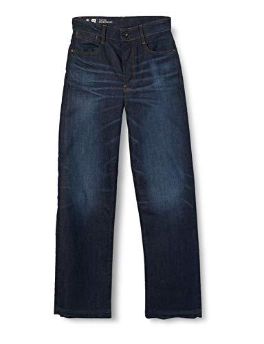 G-STAR RAW Damen Tedie Ultra High Waist Ripped Ankle C Straight Jeans, Blau (Worn In Atlas B767-B136), W34/L32 (Herstellergröße: 34W/ 32L)