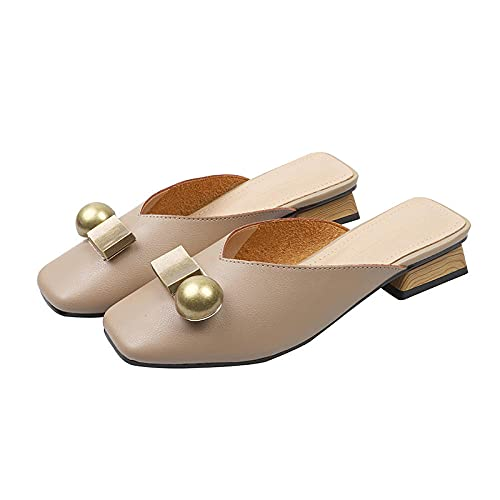YYFF Comodas Piel Sandalias,Baotou Cool Slippers,Half-Drag Mille Shoes-Khaki_39,Chanclas Suaves y cómodas para Hombre