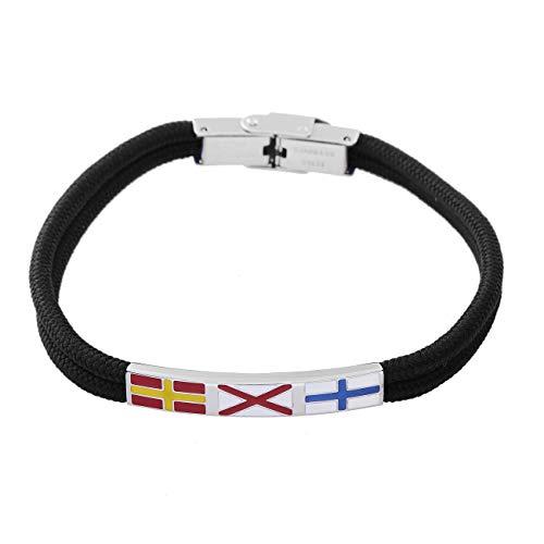 InSCINTILLE - Pulsera náutica para hombre de acero con hilo negro y banderas náuticas