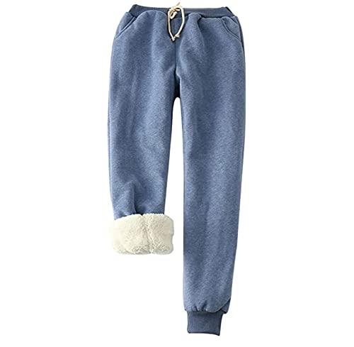 Otoño Invierno Mujer Pantalones de chándal de Lana, Pantalón de Basculador de Cachemir de imitación de Invierno, con Forro de vellón Grueso Pantalones Casuales cálidos