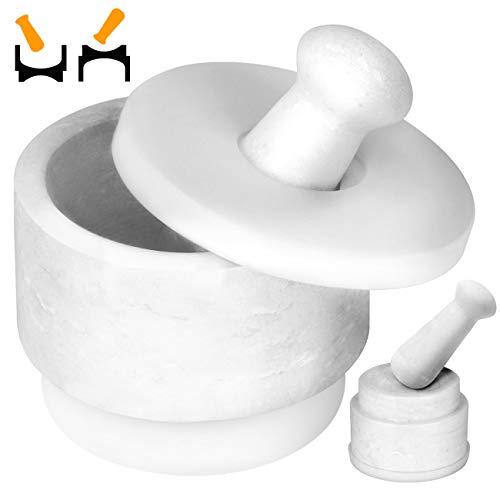 COSYLAND DOPPELSEITIG nutzbar 2in1 Marmor Mörser mit Stößel 2,5 Tassen Groß Kapazität rauer Natur Steinmörser mit 2 Schlegel 2 Silikon Unterlage Küchenhelfer Gewürzmörser Weiß (DE Patent)