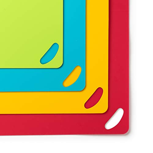 Bellemain Extra Thick Flexible Plastic Cutting Board Mats Non-Skid with Food Color Codes (Set of 4) (15x11)