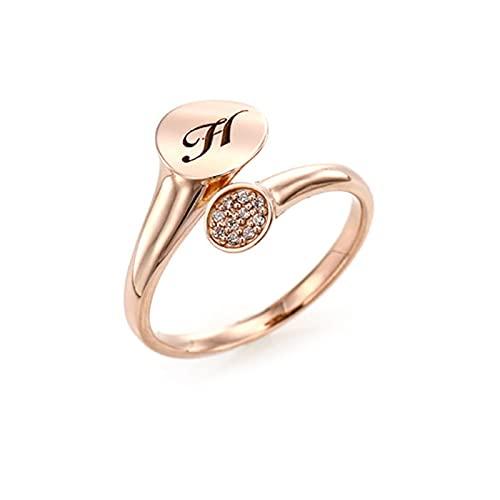 Anillo abierto creativo del circón con el anillo plateado oro rosa de 18k H