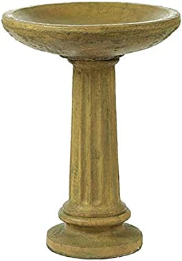 "Solid Rock Stoneworks Collanade Birdbath- 26"" Tall x 19"" Dia- Brushed Moss"