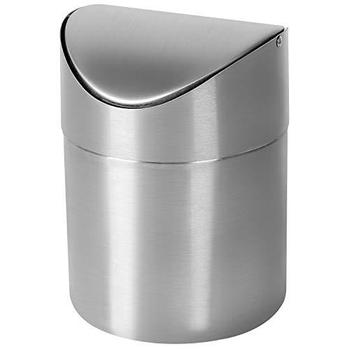TWFRIC Mini Basura con Tapa, Bote de Basura Pequeña Escritorio Cubos de Basura para Escritorio Oficina Baño Cocina Residuos Contenedores 1L