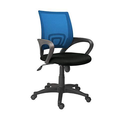 Adec - Logic, Silla de Oficina, Silla de Escritorio, Silla despacho, Color Negro y Azul Medidas: 60 cm (Ancho) x 60 cm (Fondo) x 90-112 cm (Alto)